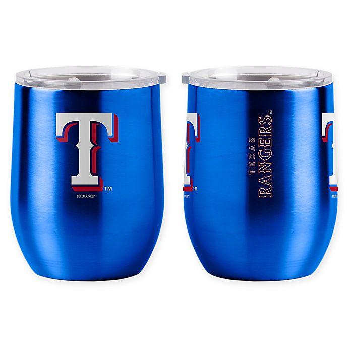 Alternate image 1 for MLB Texas Rangers 16 oz. Stainless Steel Curved Ultra Tumbler Wine Glass