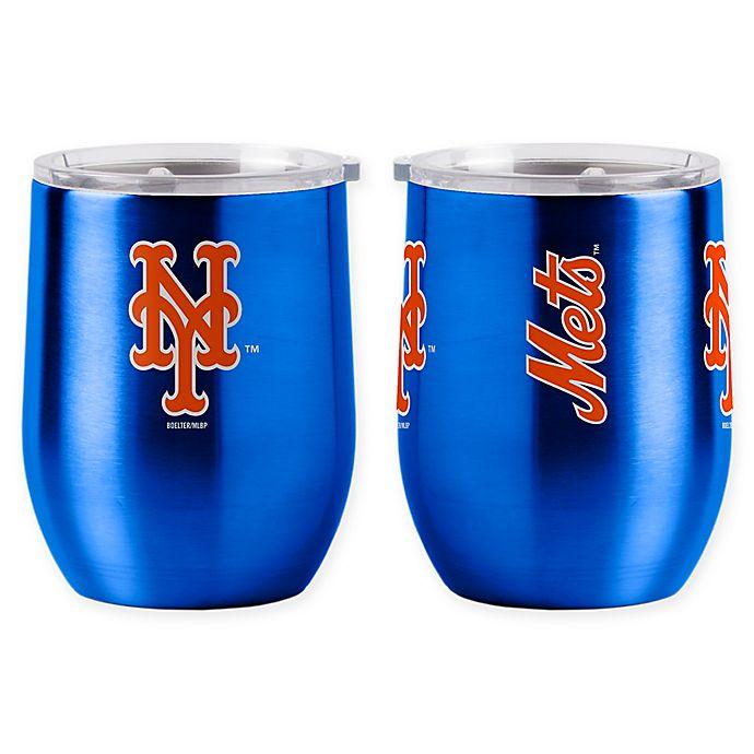 Alternate image 1 for MLB New York Mets 16 oz. Stainless Steel Curved Ultra Tumbler Wine Glass