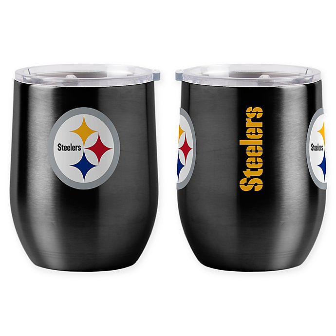 Alternate image 1 for NFL Pittsburgh Steelers 16 oz. Stainless Steel Curved Ultra Tumbler Wine Glass
