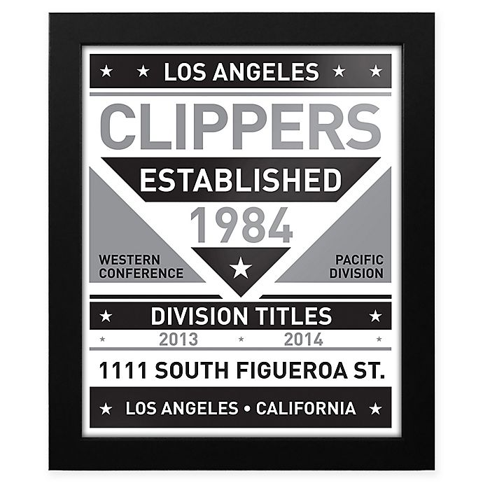 Alternate image 1 for NBA Los Angeles Clippers Black and White Team Sign Framed Print