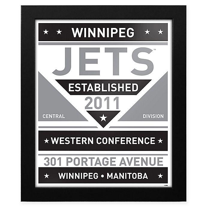 Alternate image 1 for NHL Winnipeg Jets Black and White Team Sign Framed Print