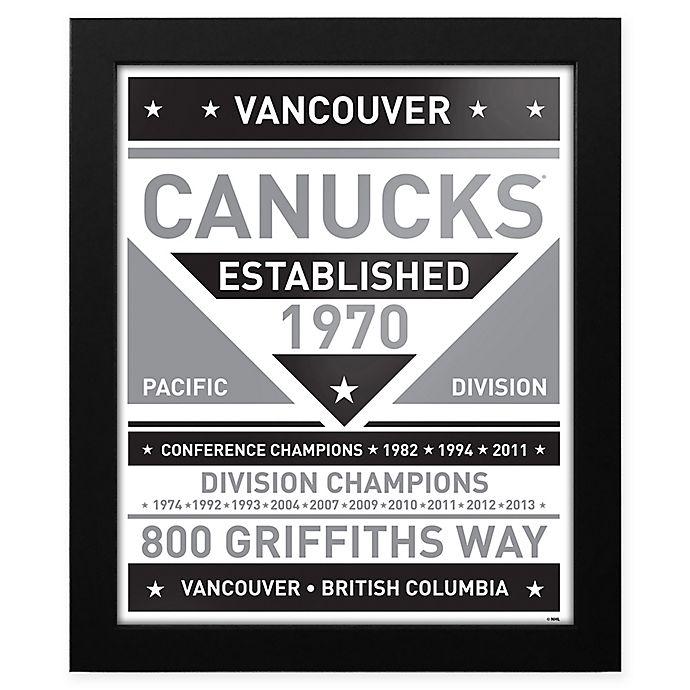 Alternate image 1 for NHL Vancouver Canucks Black and White Team Sign Framed Print
