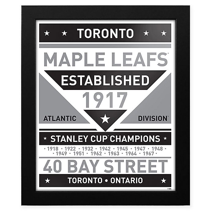 Nhl Toronto Maple Leafs Black And White Team Sign Framed Print Bed Bath Beyond