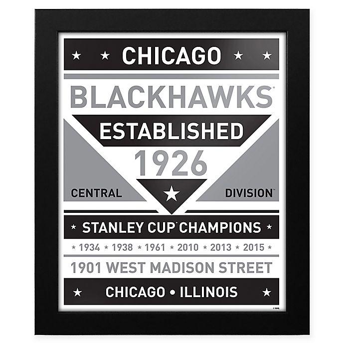 Alternate image 1 for NHL Chicago Blackhawks Black and White Team Sign Framed Print