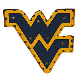 West Virginia University Illuminated Recycled Metal Wall Décorin Blue/Yellow