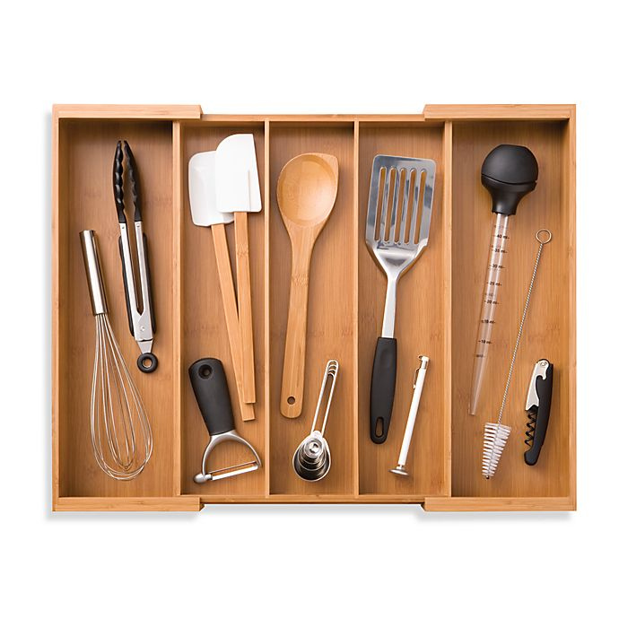 Alternate image 1 for Totally Bamboo Expandable Utensil Organizer