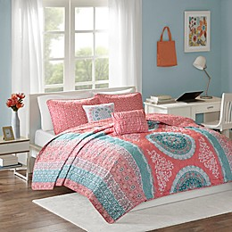 Intelligent Design Loretta 4-Piece Coverlet Set in Coral