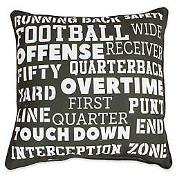 Thro Franky Football Square Throw Pillow in Green/White