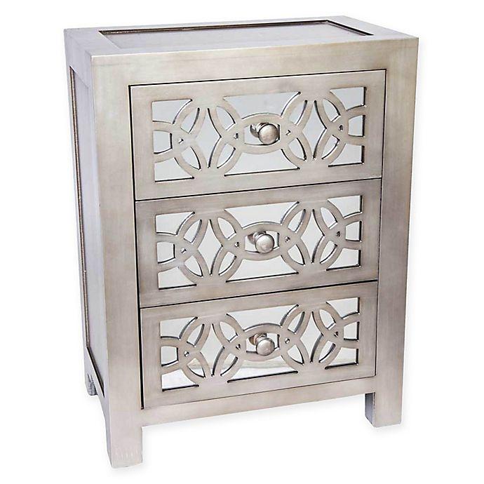 Alternate image 1 for River of Goods Mini Glam Slam Mirrored 3-Drawer Cabinet