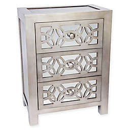 River of Goods Mini Glam Slam Mirrored 3-Drawer Cabinet