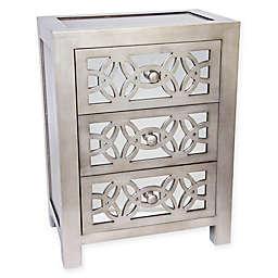 River of Goods Mini Glam Slam Mirrored 3-Drawer Cabinet