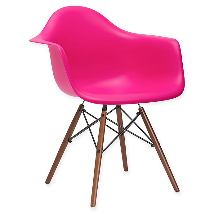 Alternate image 1 for Poly and Bark Vortex Arm Chair with Walnut Legs in Fuchsia