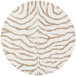 nuLOOM Plush Zebra 6-Foot Round Area Rug in Grey
