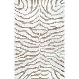nuLOOM Plush Zebra 8-Foot 6-Inch x 11-Foot 6-Inch Area Rug in Grey