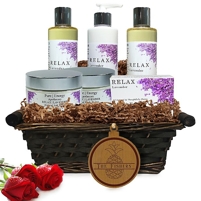 Alternate image 1 for Pure Energy Apothecary Ultimate Body Lavender Split Letter Pineapple Gift Basket