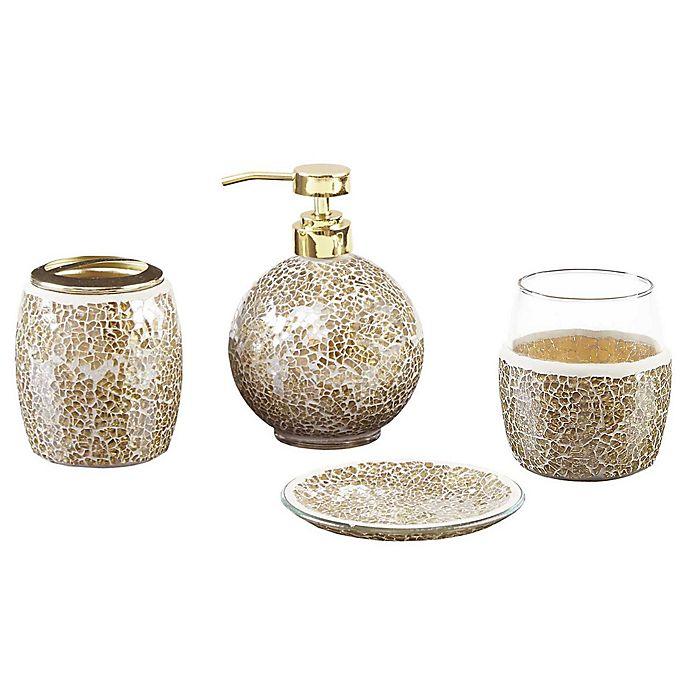 Buy madison park mosaic 4 piece bath accessory set in gold - Madison park bathroom accessories ...
