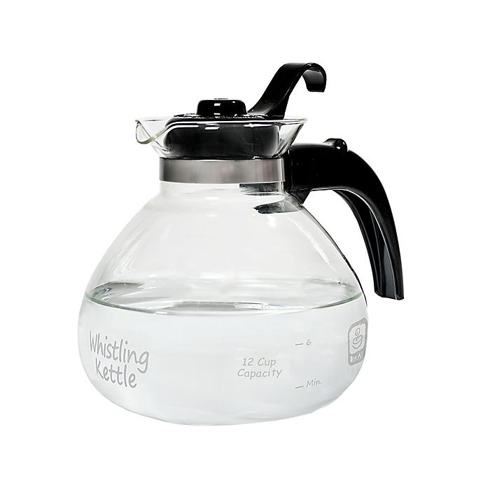 Alternate image 1 for Medelco Stovetop Whistling 12-Cup Glass Tea Kettle