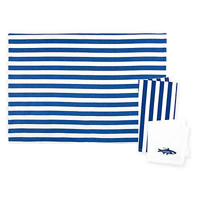 Caskata Beach Towel Stripe Placemats and Napkins in Blue/White