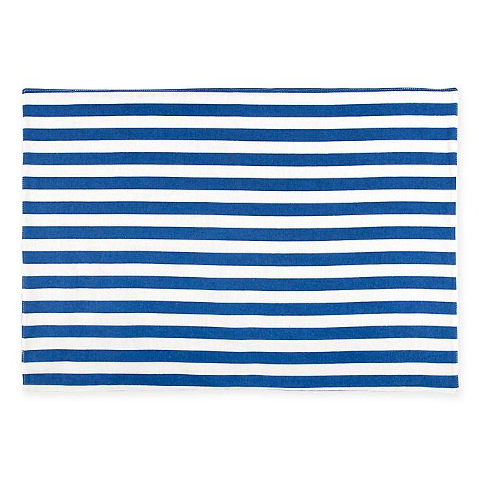 Alternate image 1 for Caskata Beach Towel Stripe Placemats in Blue/White (Set of 4)