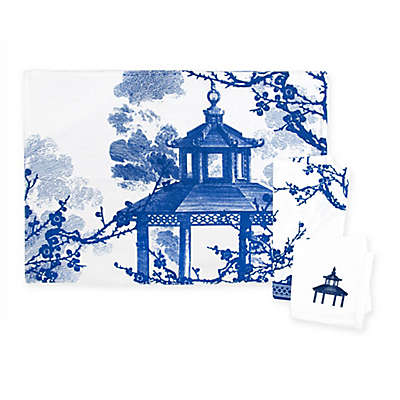 Caskata Flowering Quince Placemats and Napkins in Blue/White