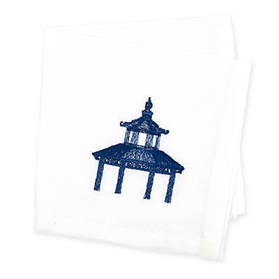 Caskata Flowering Quince Cocktail Napkins in Blue/White (Set of 4)