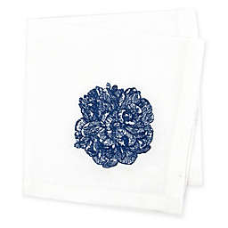 Caskata Embroidered Peony Cocktail Napkin in White/Blue (Set of 4)