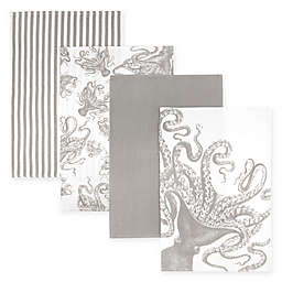 Caskata Lucy Octopus Kitchen Towels in Grey/White (Set of 4)