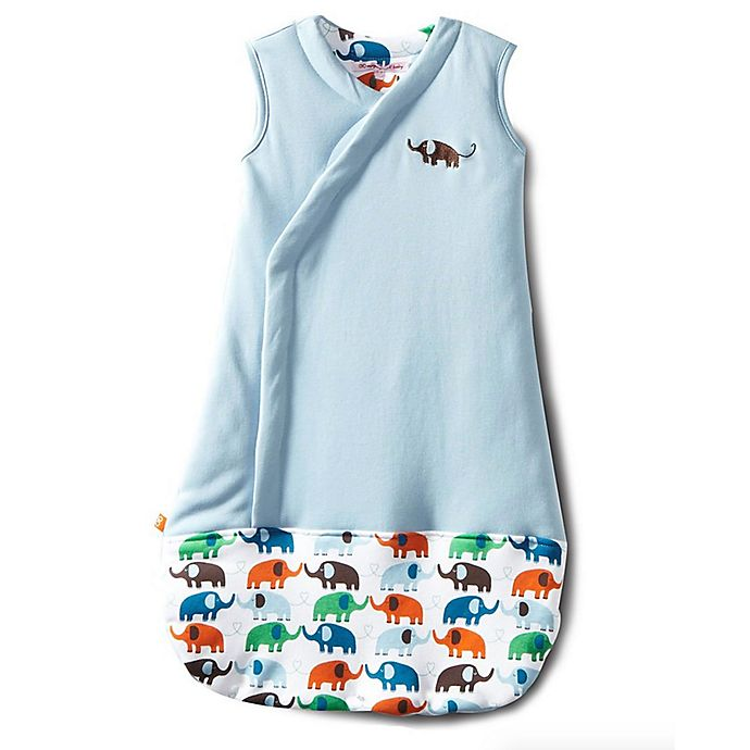 Alternate image 1 for Magnetic Me by Magnificent Baby® Size 6-12M Elephants Magnetic Wearable Blanket in Blue