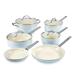 GreenPan™ Padova Ceramic Nonstick 10-Piece Cookware Set and Open Stock in Light Blue