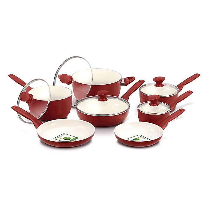 Alternate image 1 for GreenPan™ Rio Ceramic Nonstick 12-Piece Cookware Set in Burgundy