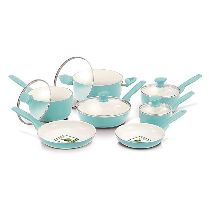 Alternate image 1 for GreenPan™ Rio Ceramic Nonstick 12-Piece Cookware Set in Turquoise