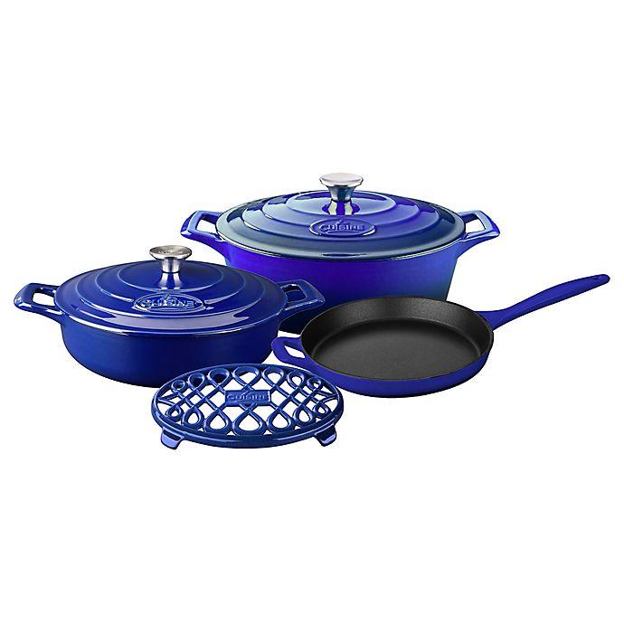Alternate image 1 for La Cuisine 6-Piece Enameled Cast Iron Oval Cookware Set in Sapphire