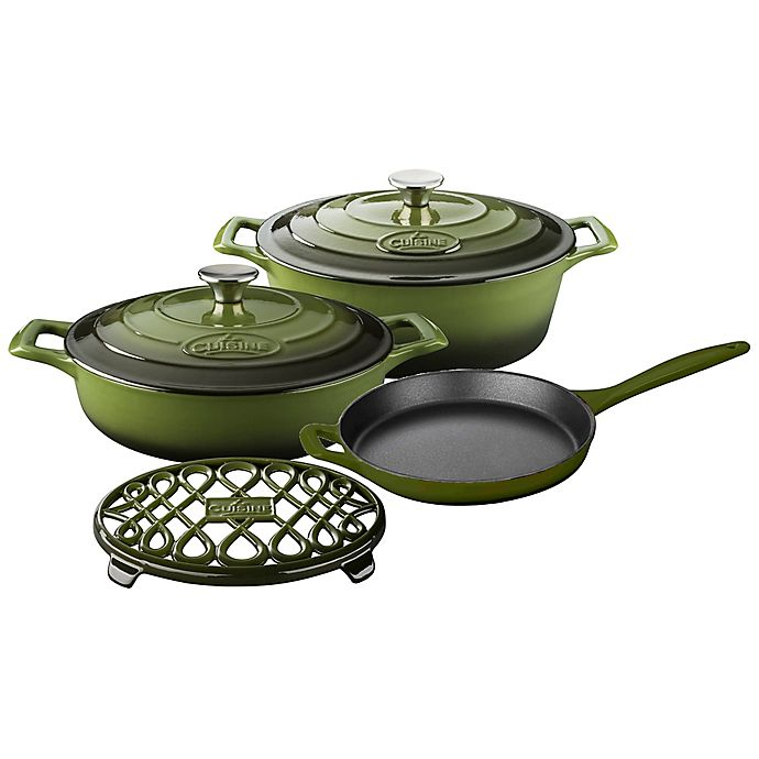 Alternate image 1 for La Cuisine 6-Piece Enameled Cast Iron Oval Cookware Set in Olive