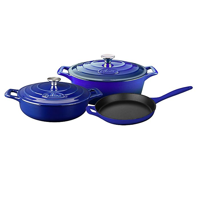 Alternate image 1 for La Cuisine PRO 5-Piece Enameled Cast Iron Oval Cookware Set in Sapphire