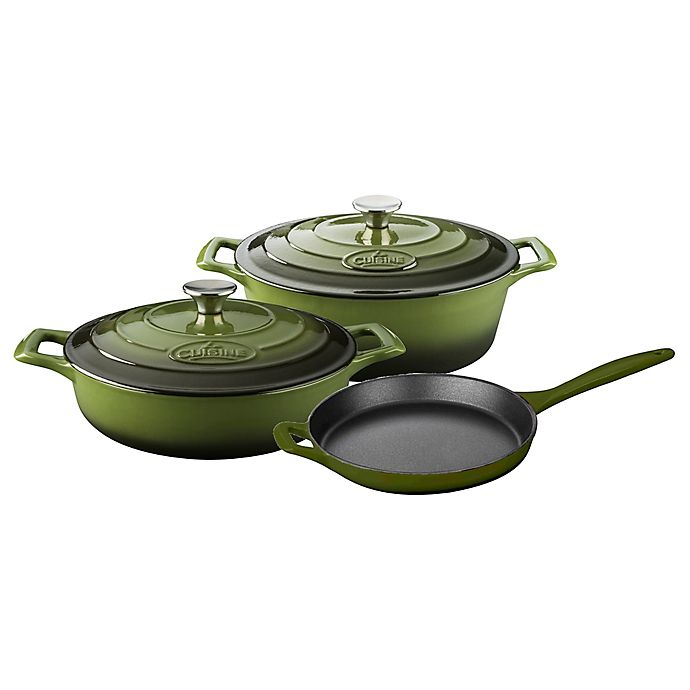 Alternate image 1 for La Cuisine PRO 5-Piece Enameled Cast Iron Oval Cookware Set in Olive