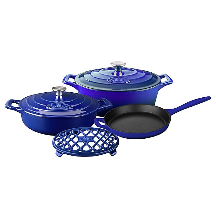 Alternate image 1 for La Cuisine PRO 6-Piece Enameled Cast Iron Oval Cookware Set in Sapphire