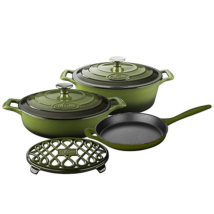Alternate image 1 for La Cuisine PRO 6-Piece Enameled Cast Iron Oval Cookware Set in Olive