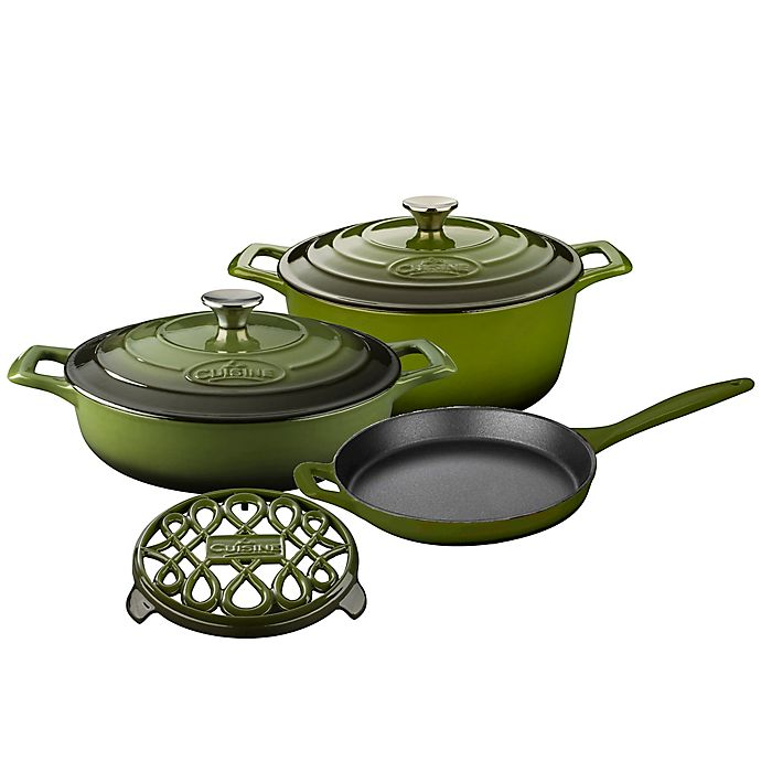 Alternate image 1 for La Cuisine PRO 6-Piece Enameled Cast Iron Round Cookware Set in Olive