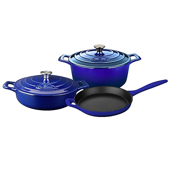 Alternate image 1 for La Cuisine 5-Piece Enameled Cast Iron Round Cookware Set in Sapphire