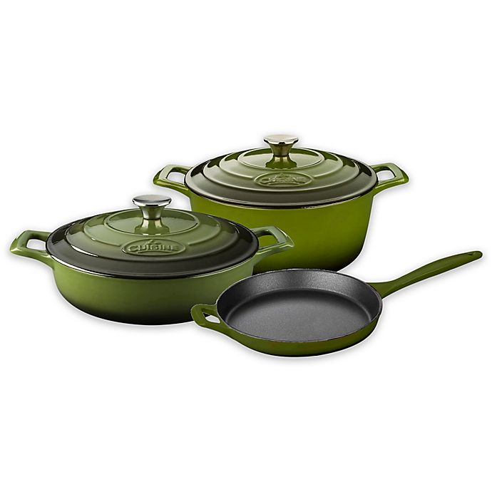 Alternate image 1 for La Cuisine 5-Piece Enameled Cast Iron Round Cookware Set in Olive