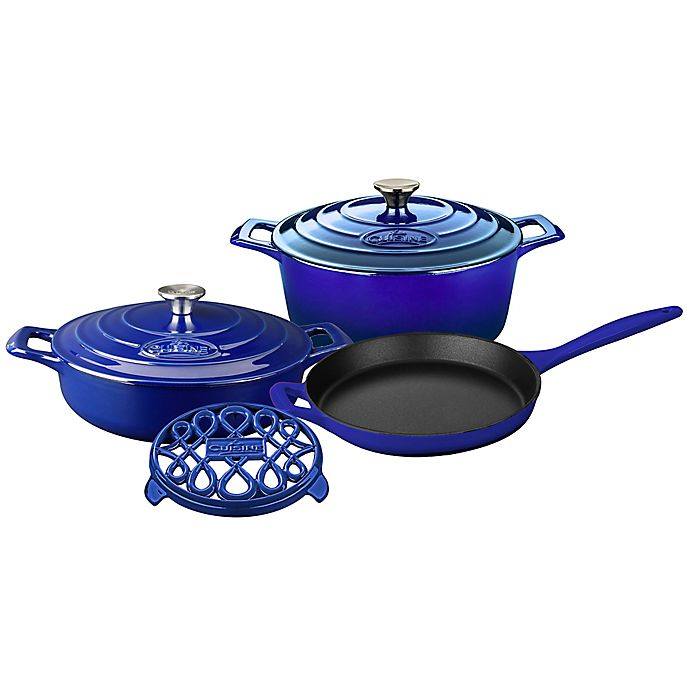 Alternate image 1 for La Cuisine 6-Piece Enameled Cast Iron Round Cookware Set in Sapphire