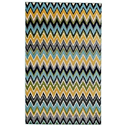 Feizy Aileen Chevron 8-Foot x 10-Foot Area Rug in Cream/Aqua