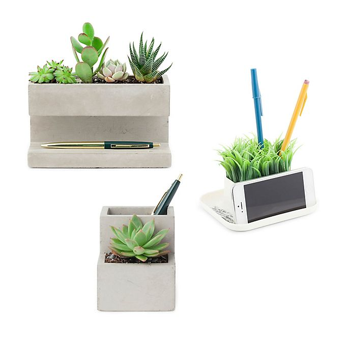 Alternate image 1 for Kikkerland® Desk Organizer with Faux Plants Collection