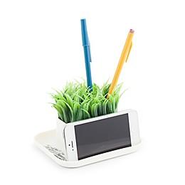Kikkerland® Desk Organizer Pen Stand & Phone Holder with Faux Grass