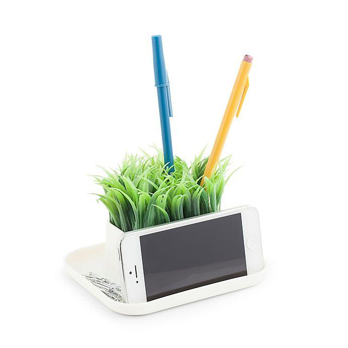 Alternate image 1 for Kikkerland® Desk Organizer Pen Stand & Phone Holder with Faux Grass
