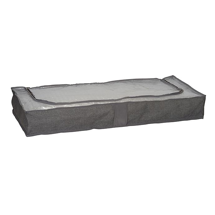 Alternate image 1 for Household Essentials® Zippered Underbed Storage Bag with Plastic Top in Grey