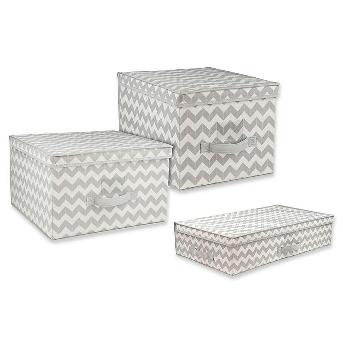 Alternate image 1 for Home Basics® Chevron Storage and Organizer Collection