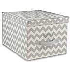 Home Basics® Chevron Large Storage Box with Lid in Grey