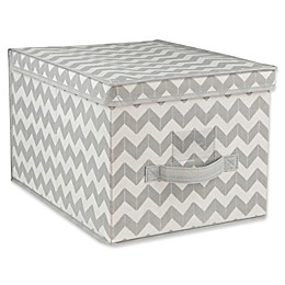 Home Basics Chevron Large Storage Box with Lid in Grey