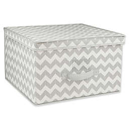 Home Basics® Chevron Jumbo Storage Box with Lid in Grey